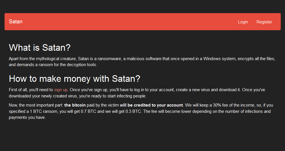 Screenshot of Satan Ransomeware advert