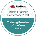 Red Hat Training Reseller Of The Year EMEA 2020 award badge