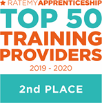 Rate My Apprenticeship Top 50 Training Providers 2019-2020, 2nd place award badge
